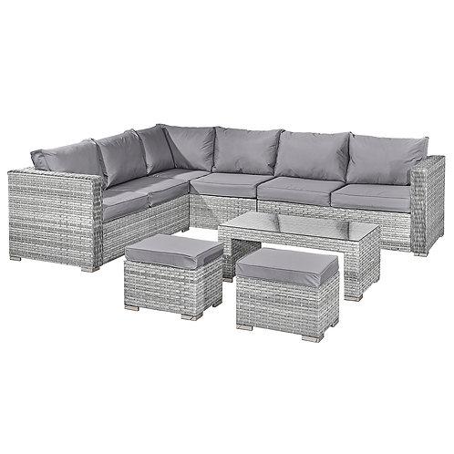 Aruba Rattan 8 Seat Corner Set in Dove Grey
