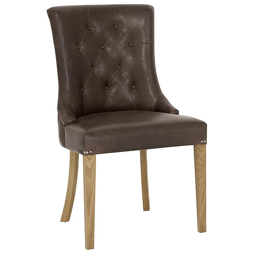 Westbury Rustic Oak Uph Scoop Chair - Espresso Faux Leather (Sold in Pairs)