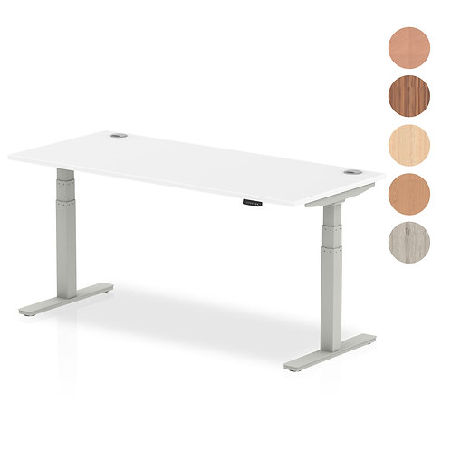Air Desk with adjustable height and cable ports with silver legs