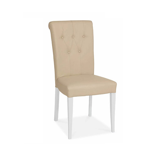 Hampstead Two Tone Upholstered Chair - Ivory Bonded Leather (Pair)