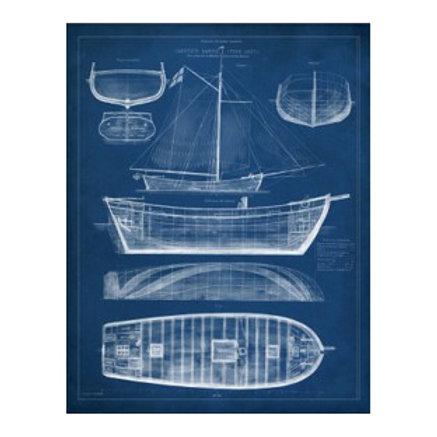 Antique Ship Blueprint II - Canvas Art