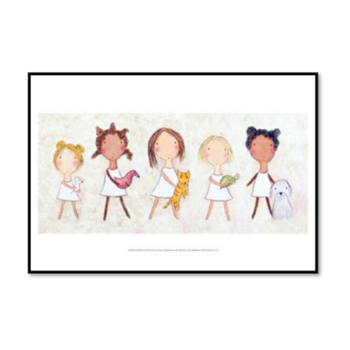 Girls with Pets - Framed & Mounted