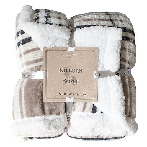 Eastender Check Throw - Taupe & Grey