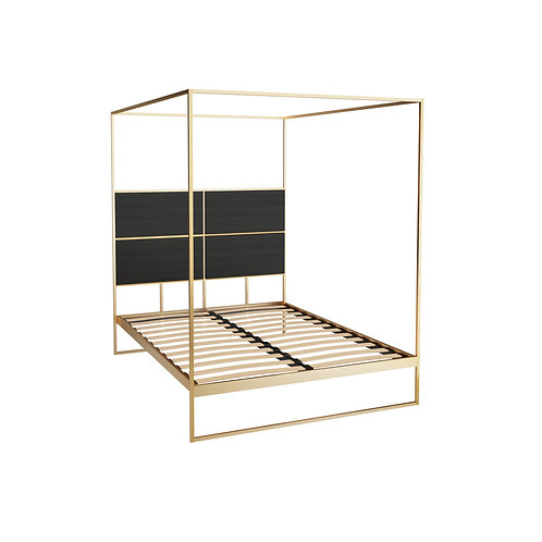 Double Federico Canopy Bed in Brass Frame