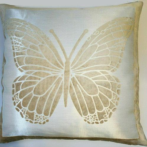Butterfly Beige Velvet Cushion