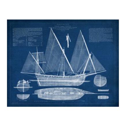 Antique Ship Blueprint III - Canvas Art