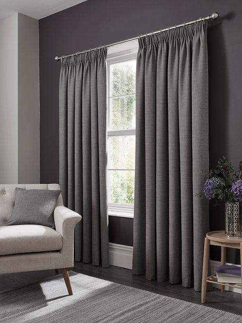 Elba Pencil Pleat Grey Curtains