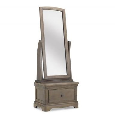 Sleigh Cheval Mirror With Drawer