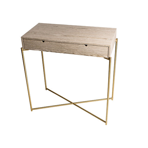 Iris Small Console Table with Drawer - Brass Frame