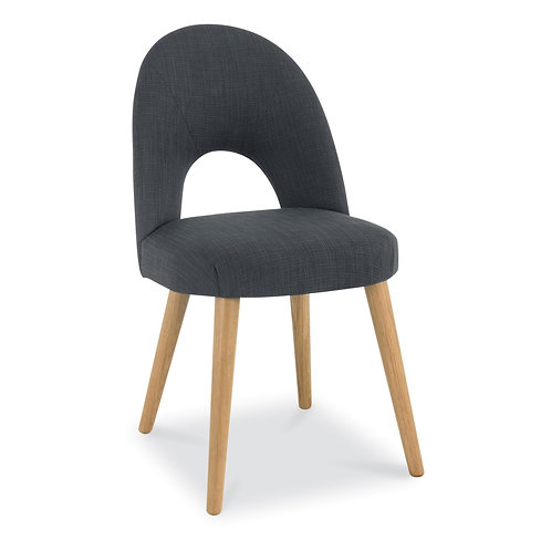 Oslo Oak Upholstered Chair - Steel Fabric (Pair)