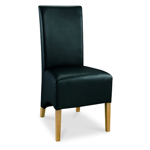 Wing Back Oak Chair - Black Faux Leather (Sold in Pairs)