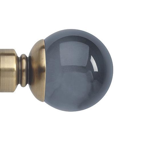 Neo Premium 35 mm Smoke Grey Ball Finial - Spun Brass
