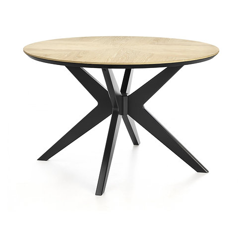 Brunel Chalk Oak & Gunmetal Circular Dining Table