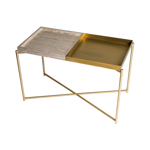 Iris Rectangular Tray Top Side Table - Brass Frame