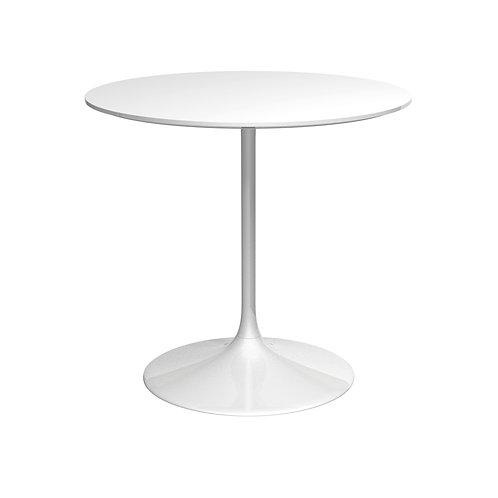 Swan Small Circular Dining Table - Gloss White Base