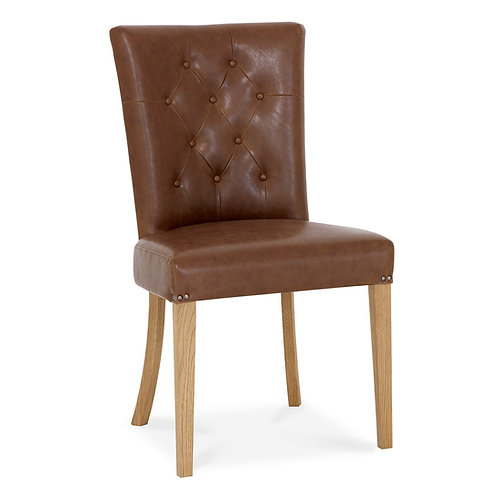 Westbury Rustic Oak Uph Scoop Chair - Tan Faux Leather (Sold in Pairs)