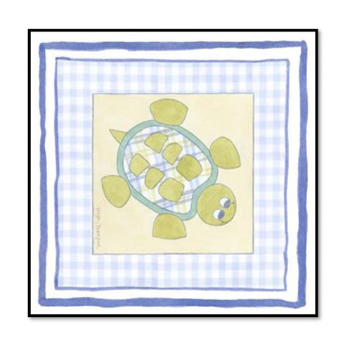 Turtle with Plaid IV - Framed & Mounted Art
