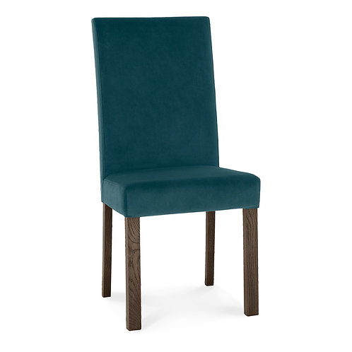 Parker Dark Oak Square Back Chair - Sea Green Velvet Fabric (Pair)