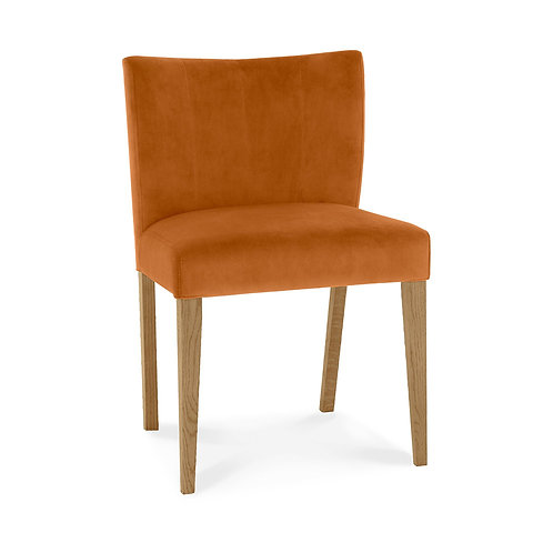 Turin Light Oak Low Back Uph Chair - Harvet Pumpkin Velvet Fabric (Pair)