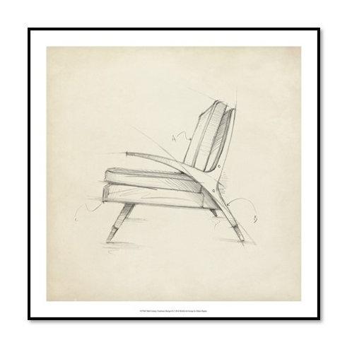 Mid Century Furniture Design II - Framed & Mounted