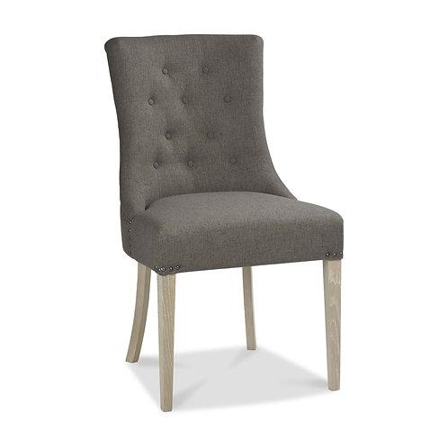 Bordeaux Chalk Oak Uph Scoop Chair - Titanium Fabric (Pair)