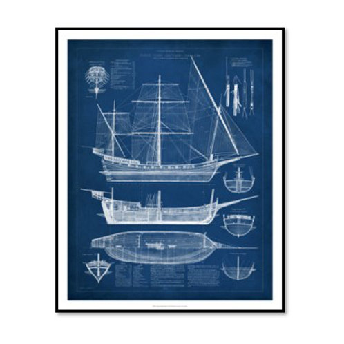 Antique Ship Blueprint I - Framed & Mounted