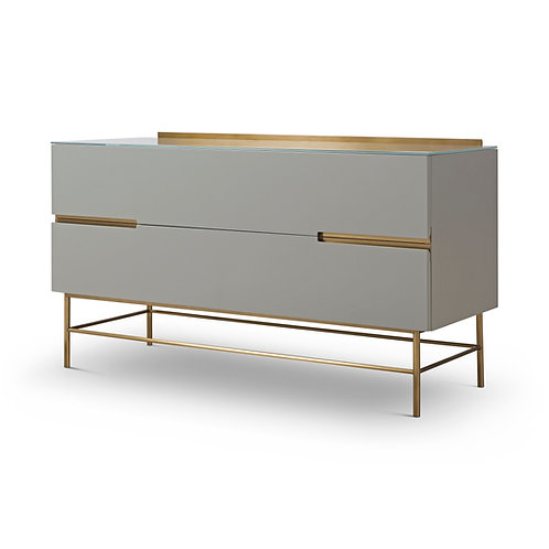 Alberto Two Drawer Low Sideboard - Grey