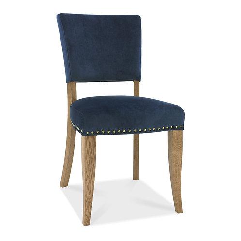 Rustic Oak Uph Chair - Dark Blue Velvet Fabric (Pair)