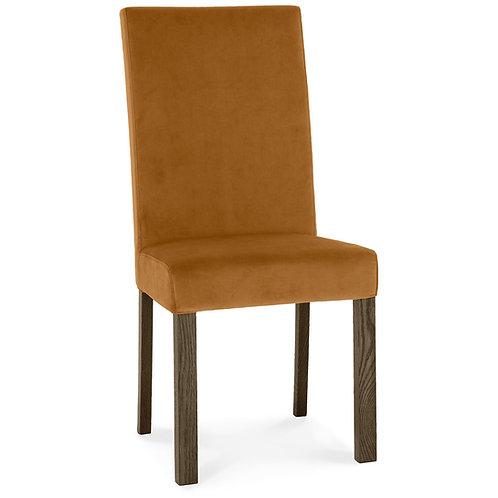 Parker Dark Oak Square Back Chair - Harvest Pumpkin Velvet Fabric (Pair)