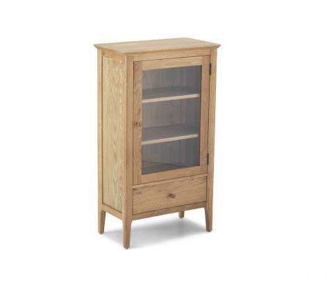 Wardley Oak - Glazed Bookcase with Drawer