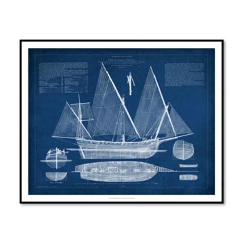 Antique Ship Blueprint III - Framed & Mounted