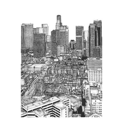 B&W Us Cityscape-Los Angeles - Canvas Art