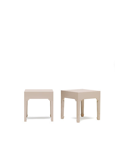 40615 - The Nine Schools Qing Oyster Grey Pair of Lamp Tables