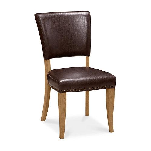Belgrave Rustic Oak Uph Chair - Rustic Espresso Faux Leather (Pair)