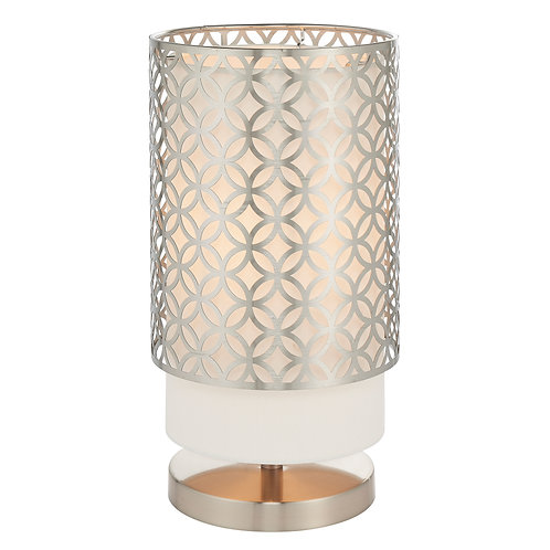 Penelope Table Lamp - Nickel and White