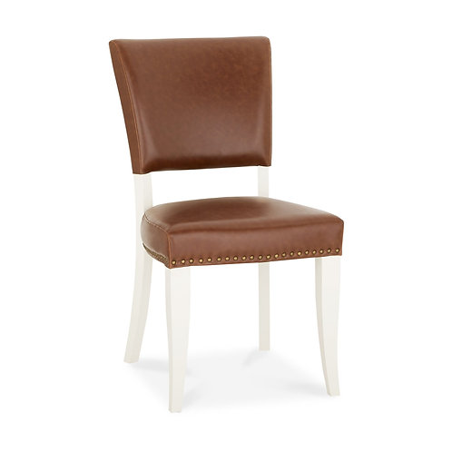 Belgrave Ivory Uph Chair - Rustic Tan Faux Leather (Pair)