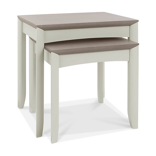 Bergen Grey Washed Oak & Soft Grey Nest Of Lamp Tables