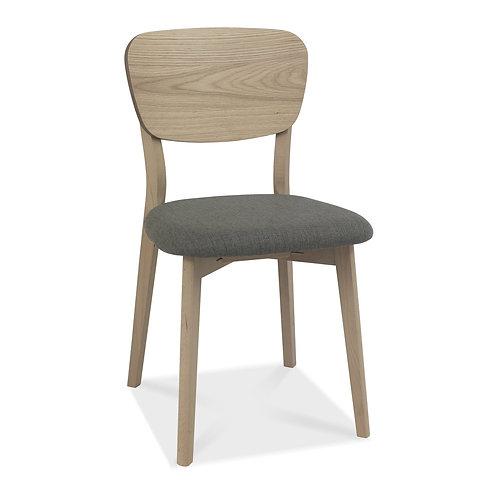Dansk Scandi Oak Veneer Back Chair - Cold Steel Fabric (Pair)