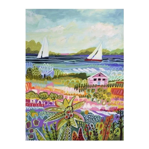 Two Sailboats and Cottage I - Canvas Art