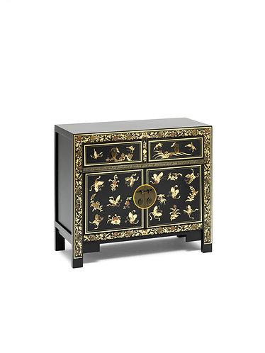 40271 - The Nine Schools Oriental Decorated Black Sideboard