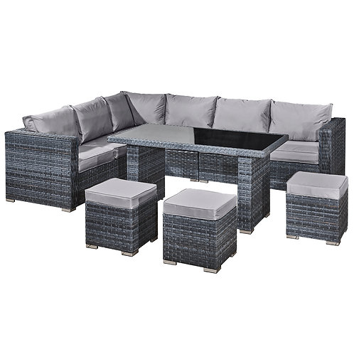 Aruba Rattan 9 Seat Corner Dining Set in Ocean Grey