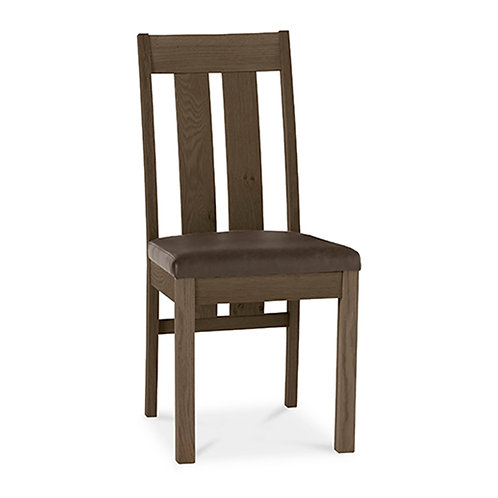 Turin Dark Oak Slatted Chair - Distressed Bonded Leather (Sold in Pairs)