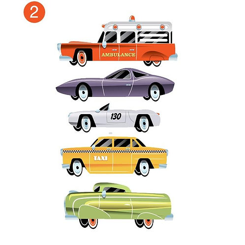 Highway Mini Cars II - Kids Wall Stickers