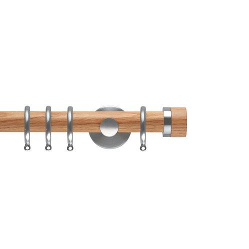 Neo Oak 28 mm Stud Curtain Pole Set - Stainless Steel