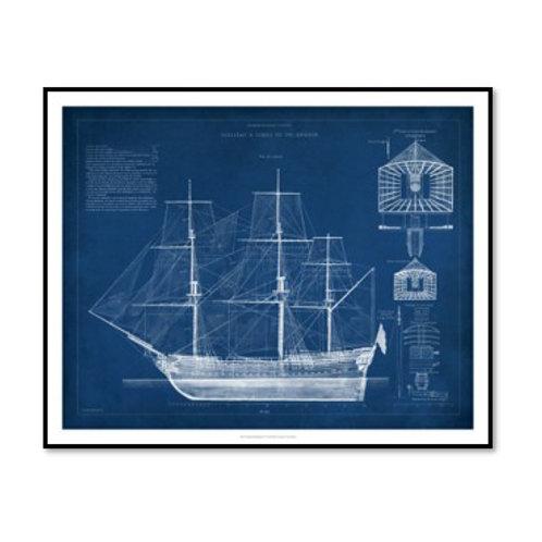 Antique Ship Blueprint IV - Framed & Mounted