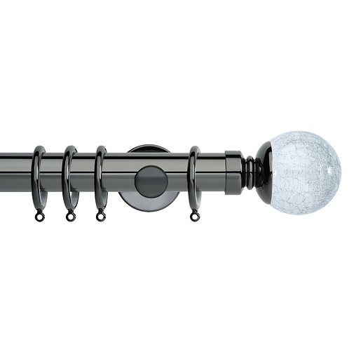 Neo Style 35 mm Crackled Glass Ball Curtain Pole Set - Black Nickel