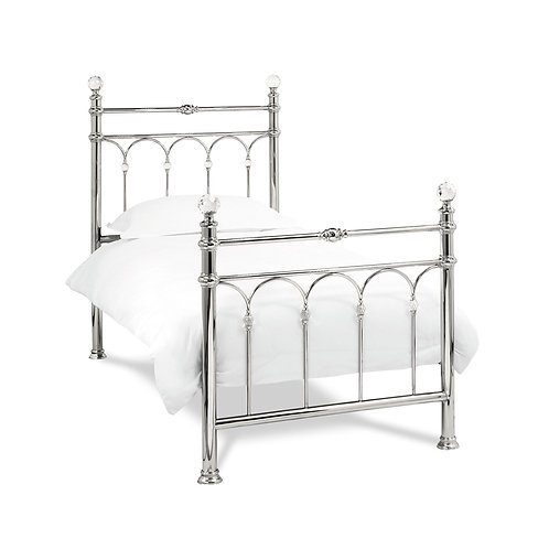 Krystal Shiny Nickel Bedstead - Single 90 cm