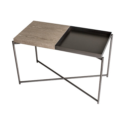 Iris Rectangular Tray Top Side Table - Gun Metal Frame
