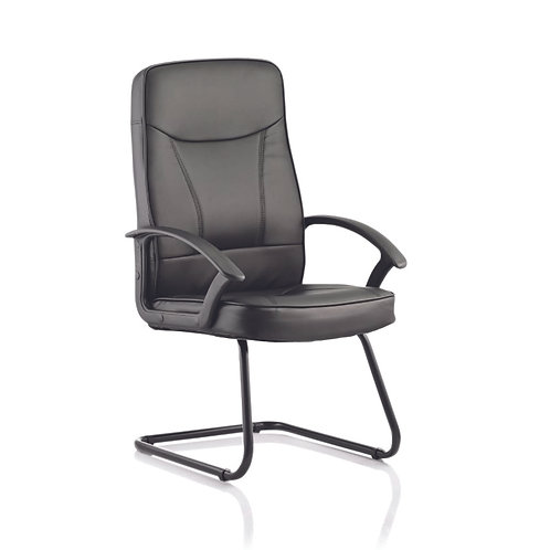 Blitz Visitor Cantilever Black Chair Black Bonded Leather With Arms