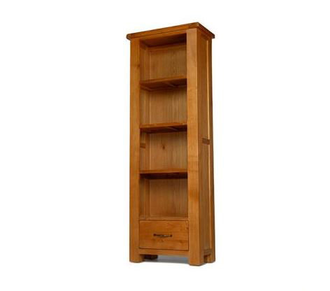 Earlswood Oak- Slim Bookcase with Drawer